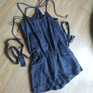 Gray linen button front romper pockets AEO